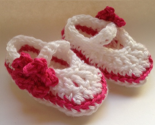 Baby Bootie White with Hot Pink